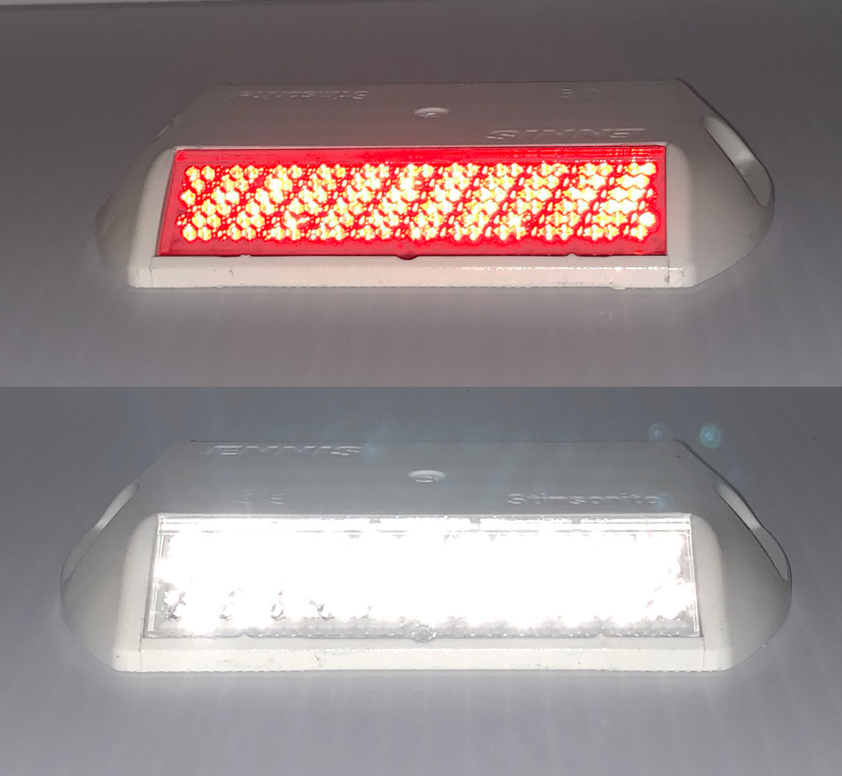 White and Red Reflective Road Marker