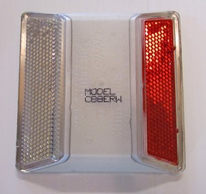 white and red reflective road markers